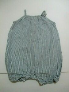 INFANT-GIRLS-BABY-GAP-1969-BLUE-STRIPED-BUBBLE-ROMPER-OUTFIT-SIZE-6-12-MONTHS