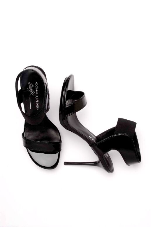 235 Donald J Pliner MAGDA 8 M BLACK LEATHER PATENT SHOES SANDALS HEELS STILETTO