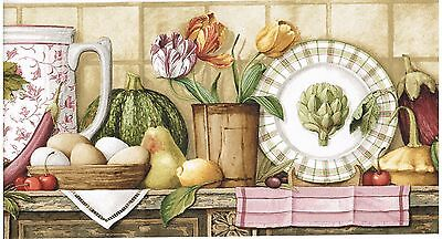EGGS, PLATES, CHERRIES, AND EGGPLANTS ON KITCHEN COUNTER  Wallpaper bordeR