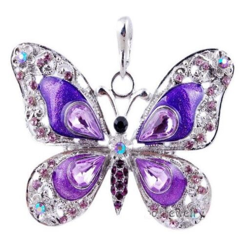 One Crystal Butterfly Necklace Rhinestone Pink Blue Green Purple
