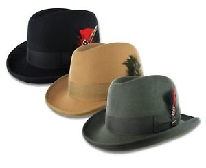 Scala-Black-Homburg-Hat-Gray-Wool-Felt-Fedora-Camel-Godfather-Tuxedo-Gangster
