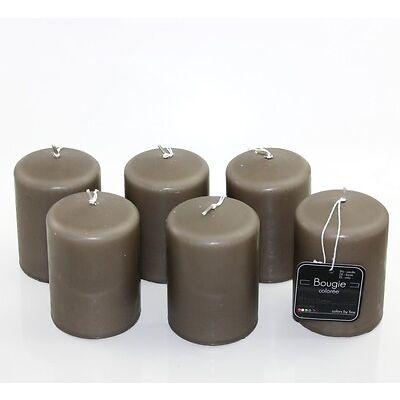 Lot de 6 bougies couleur café D7 x h10 cm