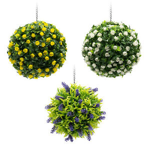 Kuenstliche-Deko-Pflanzenkugel-zum-Haengen-Blumenball-Kunstpflanze-Lavendel-Rosen