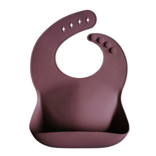 BPA and phthalate FREE silicone baby bib Mushie plain colours