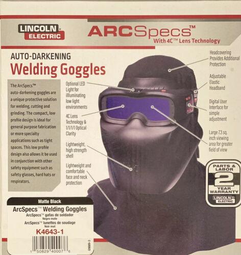 Lincoln Electric K4643-1 ArcSpecs Weld Ship Free Mask Auto Darkening Goggles