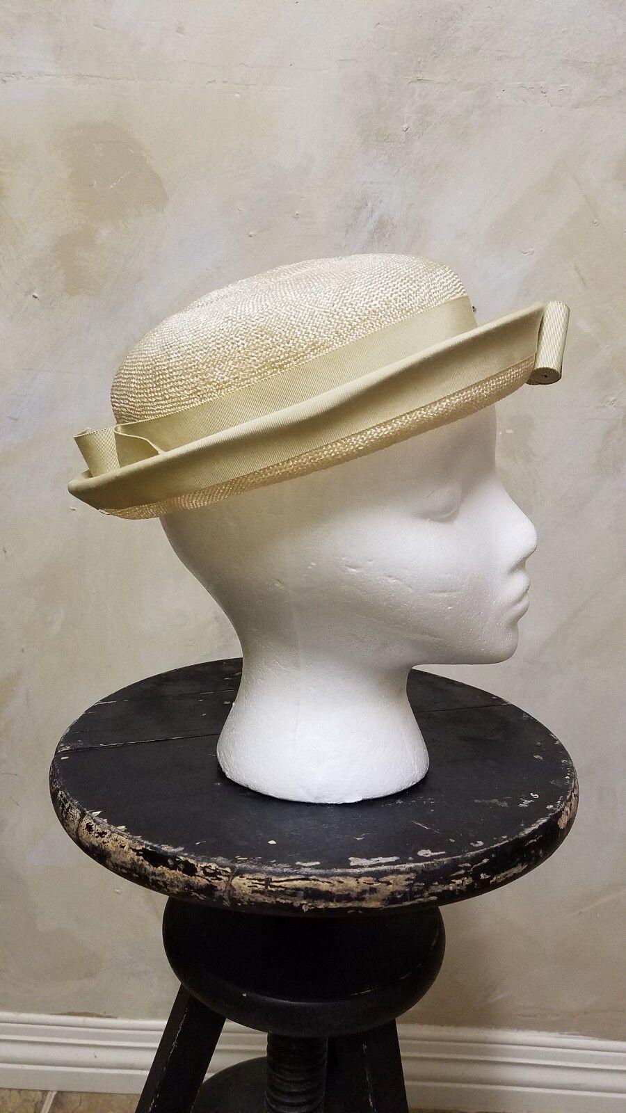 Vintage Ladies 1930s - 40s Tan Beige Brown Straw … - image 4