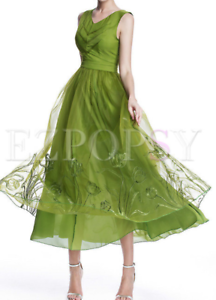 6616c0359 Image is loading NWT-Stylewe-Sleeveless-V-Neck-Green-Bohemian-Maxi-