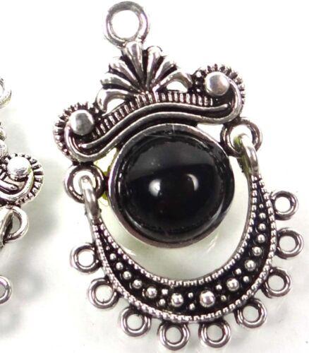 2 Silver Pewter Black Enamel Dangle Charms Earring Pendants ~ 32x21mm