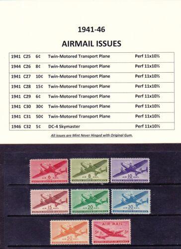 US C21-32 MNH 1941-46 Twin-Motored Transport Plane & DC-4 Skymaster Airmail