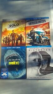 Blu-Ray Movie Lot of 4-Solo,The Meg,American Dresser,Distorted