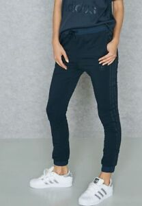 Image is loading ADIDAS-Originals-Womens-Slim-Cuffed-Track-Pants-Navy- 955a6fcfab