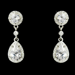 Image Is Loading Crystal Cubic Zirconia Bridal Drop Earrings Pear Shape