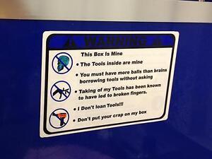 Blue-Warning-These-Tools-are-mine-decal-Mac-box-cart-socket-balancer-Sears