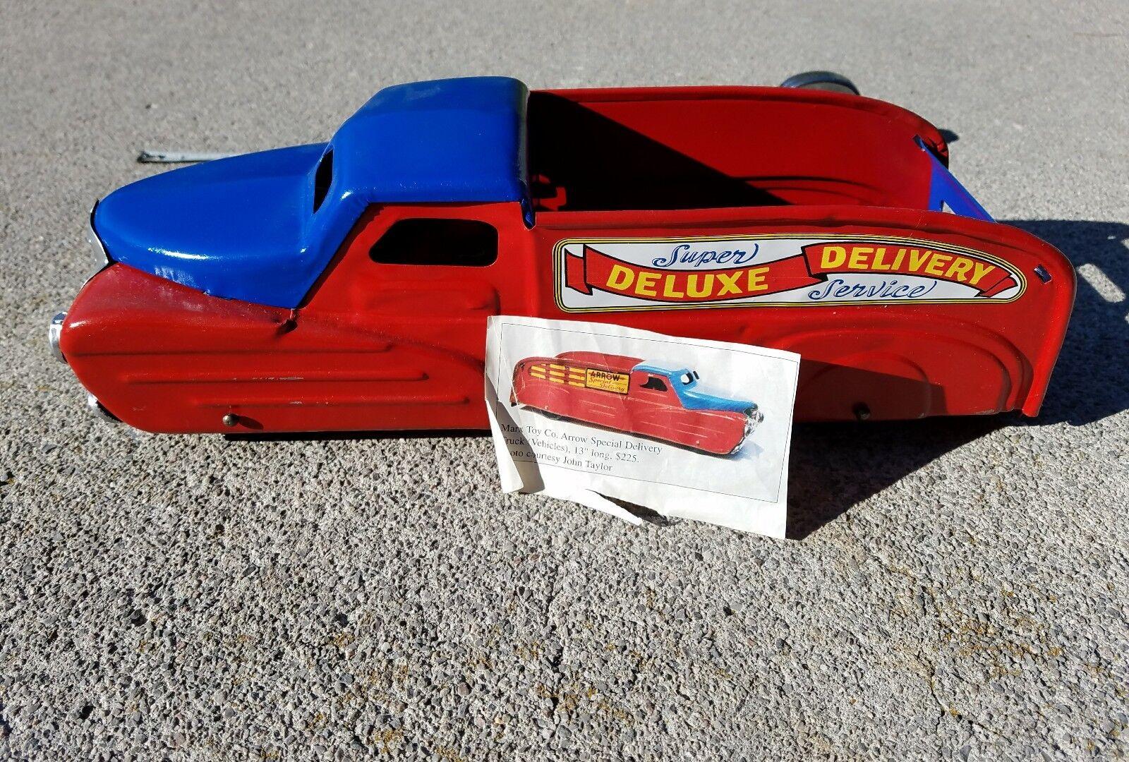 ビンテージマルクスアロースペシャルデリバリー玩具トラックアメリカ錫おもちゃロットプレススチール玩具