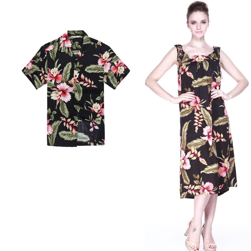 Couple Matching Shirt Dress Set Hawaiian Luau Cruise Indigo Long Black Rafelsia