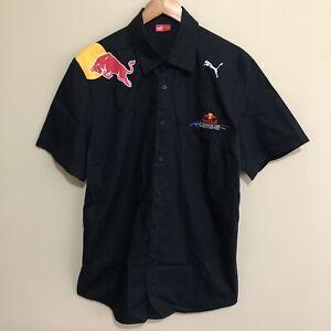 Red-Bull-Racing-F1-Formula-One-Team-PUMA-Official-Button-Shirt-Blue-Mens-XL