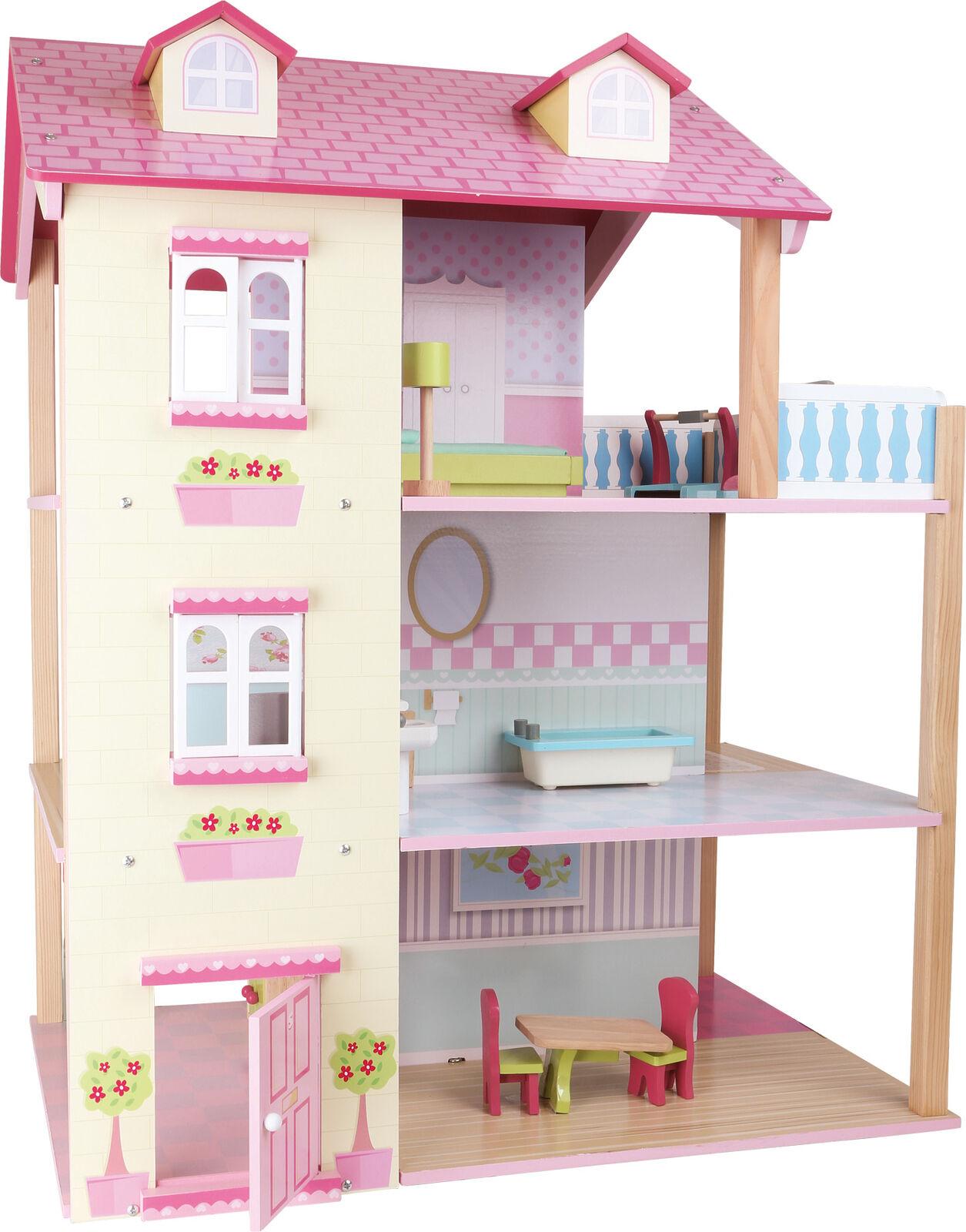 Puppenhaus Rosa Dach 3 Etagen drehbar aus Holz