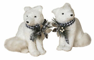Large-2-pc-15-034-H-Holiday-White-Fox-White-Plaid-Christmas-Decoration-Figurines