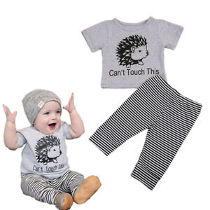 fa602417449 US Newborn Baby Boy Clothes CUTE Hedgehog Short Sleeve T-shirt+Pants ...