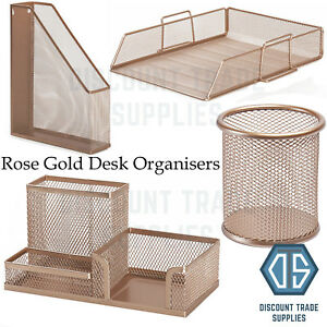 Rose Gold Copper Metal Wire Desk Organiser Office Pen Pot