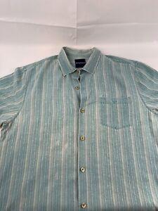 TOMMY-BAHAMA-Men-039-s-100-Silk-Hawaiian-Shirt-Blue-Size-XL-Blue-Vintage