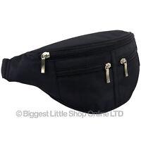 NEW Black Waist Bum Bag Travel 4 zips MICROFIBRE Unisex Fanny Pack Mens Ladies