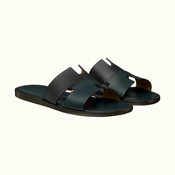 HERMES para Hombre's Izmir Sandalia, 2 tonos de cuero Color azul negro, tamaño 42 Nuevo Y En Caja