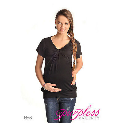 New MATERNITY V Neck Twist Knot Front Pregnancy Top Size 8 10 12 14 16 18 6065