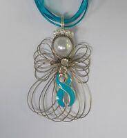 Ovarian Cancer Awareness Teal Ribbon Angel Necklace Handmade