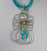 Ovarian Cancer Awareness Teal Ribbon Angel Necklace Handmade