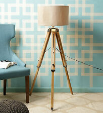 Handloom Fabric Brown Natural Finish Wooden Tripod Floor Lamp Living Area Light