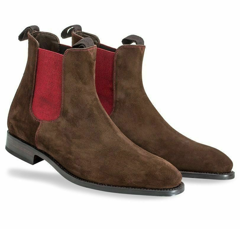Mens Mens Mens Handmade Boots Chelsea Brown Suede Cherry Elastic Strip Formal Dress shoes 265693