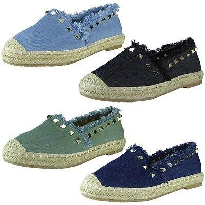 Mujer señoras del dril de algodón Slip on Bailarina Tachuelas Alpargatas Zapatos Sandalias Tamaño de pisos
