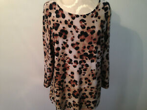 Black Brown Tan Animal Print JM COLLECTION Spandex Knit 3/4 Sleeve Top Size L