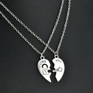 2pcsset i love you heart lock key couple pendant necklace chain image is loading 2pcs set i love you heart lock amp mozeypictures Image collections