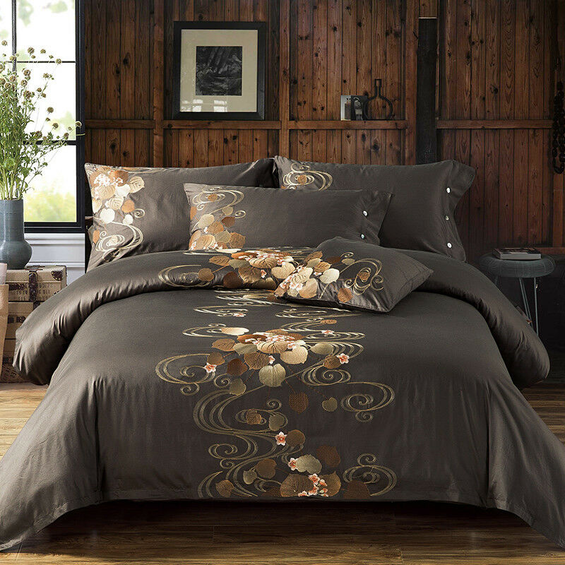 EMBROIDERED BRODERIE BROWN CREAM QUILT DUVET COVER BEDDING SET PILLOW CASE SHEET