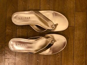 Ralph-Lauren-Karmina-Platinum-Metallic-Thong-Sandals-9-B