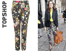 Olivia Palermo x Topshop Navy Blue Co-ord Tropical Slim Trousers Sz 2