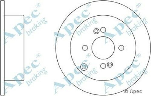 Single 1x OE Quality Replacement Rear Axle Apec Solid Brake Disc 4 Stud 262mm