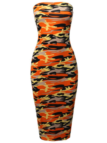 Made in USA FashionOutfit Women/'s Solid Stretchable Body-Con Midi Tube Dress
