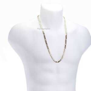 "Men/'s 7mm Italian Figaro Link Chain Necklace 14K Gold Plated 8/"" 20/"" 24/"" 30/"""