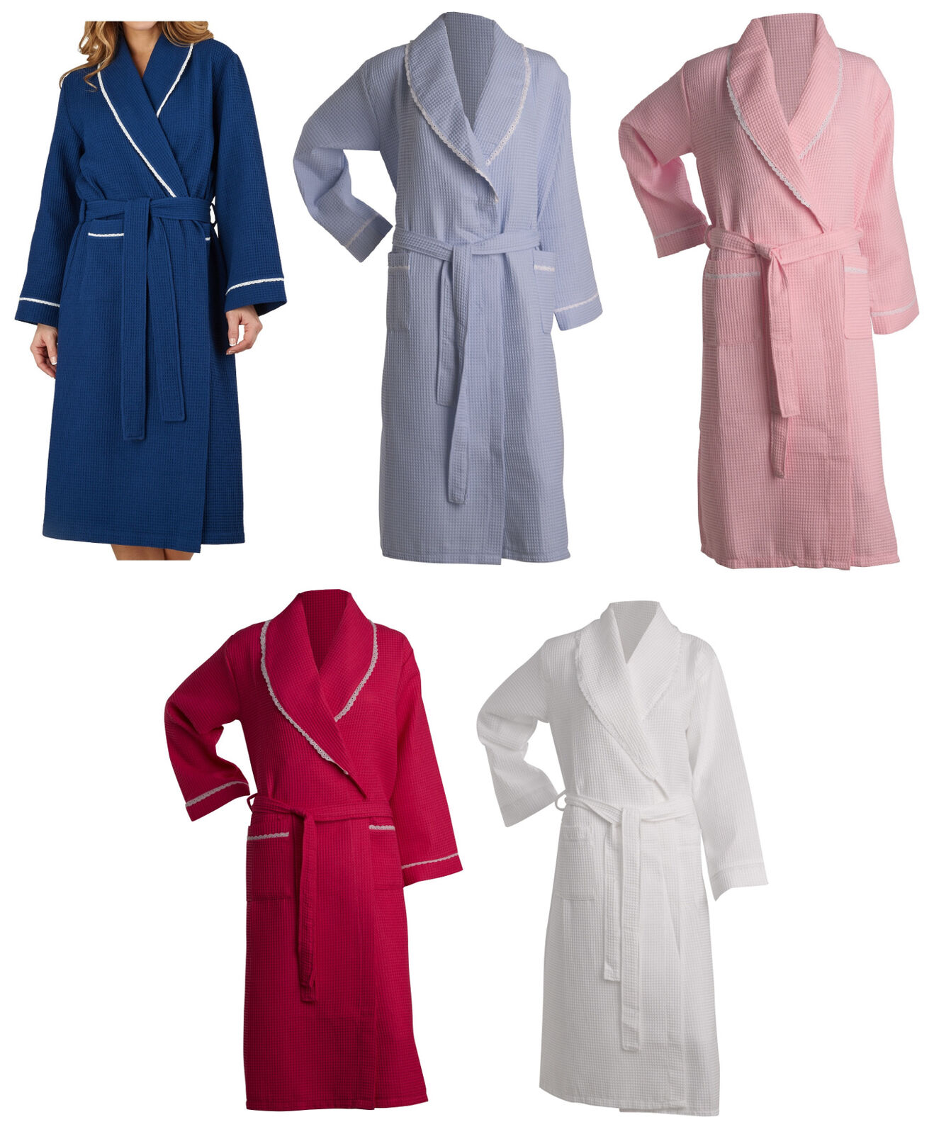 Bathrobe Womens Lightweight Waffle Lace Trim Dressing Gown Slenderella Nightwear