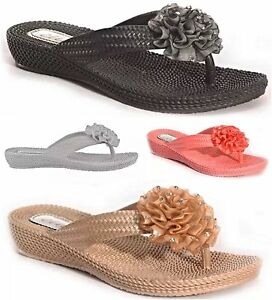 New-Ella-Women-Low-Wedge-Toe-Post-Diamante-Flower-Sandals-Ladies-Mule-Flip-Flop