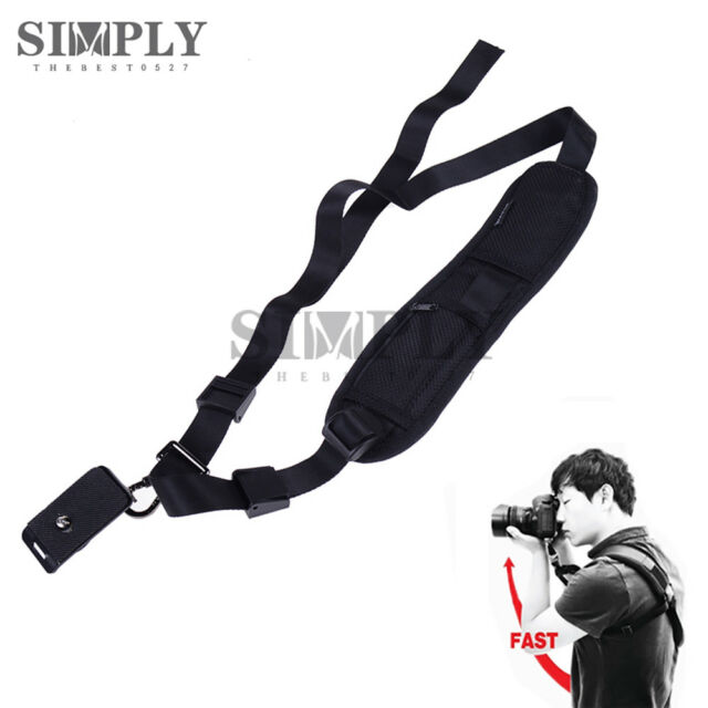 Quick Rapid Camera Single Shoulder Sling Neck Strap Belt for Digital DSLR Black