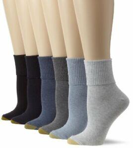 Gold Toe Women's Classic Turn Cuff Socks, Multipai - Choose SZ/color