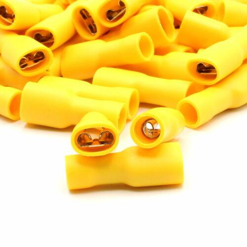 100 Kabelschuhe gelb 6,3mm Flachsteckhülsen vollisoliert Flachsteckhülse 4-6mm²