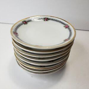 Vintage Bavaria Butter Pats Plates Floral Rose Gold Trim Set of 8