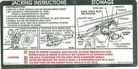 1973 Chevy Truck/gmc Truck Jack Instruction Decal