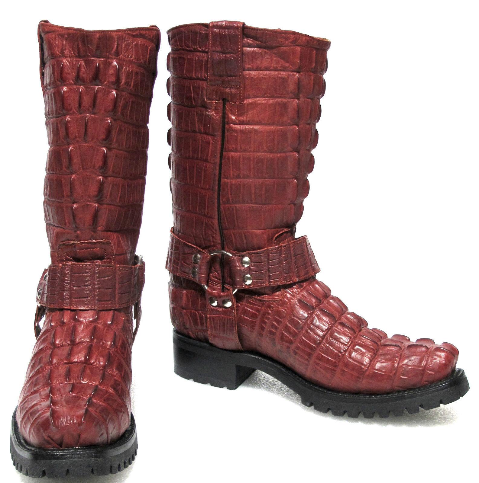 Para Hombre Biker COCODRILO COCODRILO Cola occidental de cuero botas De Vaquero Cuadrado Rojo