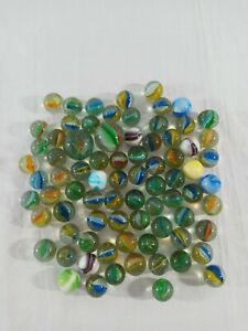 Vintage-Cat-039-s-Eye-Multi-Colored-Transparent-Swirls-Marbles-amp-Shooters-Lot-of-78
